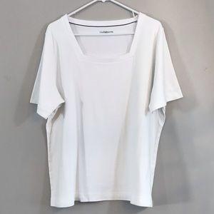 EUC Croft & Barrow White T-Shirt Square Neckline